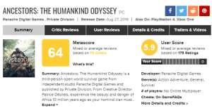 天月卡盟:《先祖:人类奥德赛》开发者很生气 一些打分媒体压根没玩过游戏