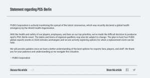 战舰世界大圣辅助:《绝地求生》2020首个电竞赛事PGS柏林宣布延期