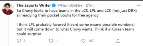 非钻卡盟:多队追求Chovy,LPL因为开价最高即将得手!网友:另一个Knight?